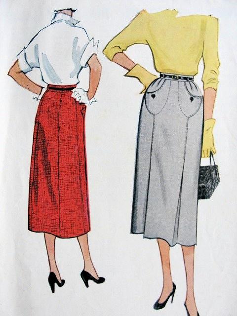 1950s SLIM SKIRT PATTERN UNIQUE FRONT POCKETS McCALLS 9589 VINTAGE SEWING PATTERNS