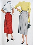 1950s SLIM SKIRT PATTERN UNIQUE FRONT POCKETS McCALLS 9589 VINTAGE SEWING PATTERNS