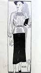 1930s 2 PC DRESS PATTERN BEAUTIFUL SHIRRED BLOUSE, SLIM SKIRT MARIAN MARTIN PATTERNS 9638