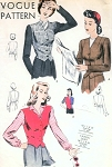 1940s  Waist Coat Style Jackets Pattern Vogue 9658 Vintage Sewing Pattern Adjustable Back Belt, Very Sam From Foyles War