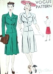 1940s Suit Pattern Easy To Make Vogue 9722 Beautifully Fitted Jacket Notched Collar, Flared 4 Piece Skirt Bust 30