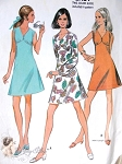 1960s Mod  Dress Pattern V Neckline In 3 Style Versions McCalls 9752 Vintage Sewing Pattern Bust 34