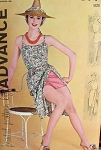 1960 WEEKEND BEACH  WARDROBE PATTERN BUTTON BACK TOP, SHORTS, SLIM WRAP SKIRT ADVANCE 9778