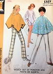 1960s Mod Ponchos Cape Slim Pants and Shorts Pattern McCalls 9782 Vintage Sewing Pattern UNCUT
