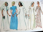 1970s Retro Wedding Dress Bridal Gown Pattern Simplicity 9935 Five Romantic Boho Styles Vintage Sewing Pattern FACTORY FOLDED