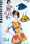 1960s QUICK n EASY Apron Pattern BUTTERICK 9983 Cute Button On Bib and Hostess Aprons 4 Style Versions Vintage Sewing Pattern