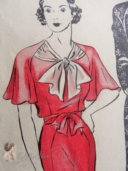 1930s Beautiful Art Deco Dress Pattern Sew Simple Frock, Cape or ...