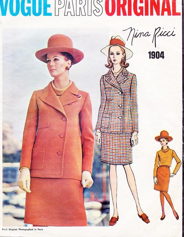 Designer Nina Ricci UNCUT size 12 GLAM Cocktail Evening Two-Piece Dress 14 or  16 Vintage VOGUE Paris Original  Pattern 2191
