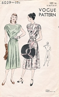 1940s BEAUTIFUL Party Dress Pattern VOGUE 6039 Draped Details Figure Flattering Bust 34 Vintage Sewing Pattern