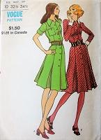 d74104f7387 FABULOUS 70s Front Button Dress Pattern VOGUE 8198 Retro Shirtdress In 2  Versions Bust 32 Vintage