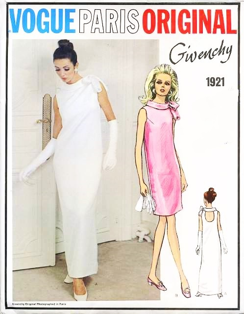 RARE 60s GIVENCHY Evening Gown Cocktail Party Dress Pattern VOGUE ...