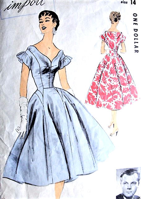 1950s GORGEOUS Evening Party Dress Pattern ADVANCE IMPORT 102 John ...