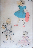 1950s Vintage DARLING Child's Dress in Two Styles with Heart Shaped Pockets Advance 4249 Sewing Pattern