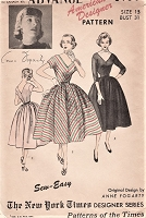1950s LOVELY Anne Fogarty Day or Evening Party Dress Pattern ADVANCE 6160 Deep V Neckline Full Skirted Dress, Includes Dickey For Daytime Bust 31 Sew Easy Vintage Sewing Pattern