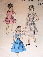 Vintage 1950s LOVELY Girl's Dress with Full Six Gore Skirt Advance 6454 Sewing Pattern Bust 26