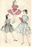 1950s ADORABLE Girls Day or Party Dress Pattern ADVANCE 8251 Three Sweet Styles Includes Puff Sleeve Version Size 8 Vintage Childrens Sewing Pattern