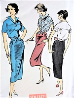 1950s CHIC Slim Skirt and Waist Tie Wing Collar Blouse Pattern ADVANCE 8390 One Yard Skirt, Hip Drape, Day  or After 5 Bust 32 Sew Easy Vintage Sewing Pattern FACTORY FOLDED