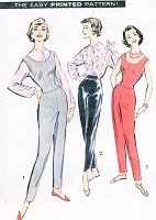1950s Bombshell CATSUIT Jumpsuit Jumper Pants Pattern ADVANCE 8582 Slim Figure Hugging Jumpsuit or Tapered Pants and Blouse Bust 32 Vintage Sewing Pattern FACTORY FOLDED