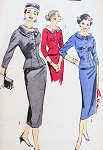 CHIC 1950s Two Piece Dress Pattern ADVANCE 8207 Pencil Slim Skirt Slim Fitted Nip In Waist  Stand Away Collar Jacket Two Style Versions Bust 34 Vintage Sewing Pattern