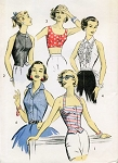 1950s FABULOUS Advance 8309 Vintage Sewing Pattern Four Tops for Sports, Sun or Evening Wear Rockabilly Flirty Designs Bust 38