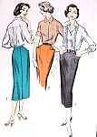 1950s FAB Pencil Skirt and Blouse Pattern ADVANCE 8473 Three Style Versions, Lovely Back Pleated Blouse Easy To Sew Bust 36 Vintage Sewing Pattern FACTORY FOLDED