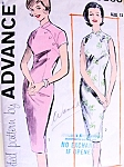 Early 60s FAB Slim Asian Sheath Dress Pattern ADVANCE 9860 Cheongsam Style Day or Cocktail Party Bust 36 Sew Easy Vintage Sewing Pattern