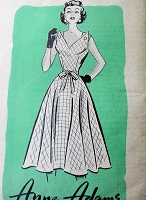 1950s UNIQUE Sun Dress Pattern ANNE ADAMS 4677 Eye Catching Button Shoulders Daytime or Party Dress Bust 29 Vintage Sewing Pattern