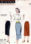 1950s Slim One Yard Skirt Pattern Figure Show Off Classic Office Style Quick N Easy  Butterick 6622 Vintage Sewing Pattern Waist 24