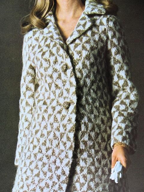Instant pdf pattern 1960s elegant vintage houndstooth coat knitting quick view dt1010fo