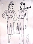 1940s Stunning Dress Pattern Butterick 2258 Lovely Draped Neckline Flared Skirt Daytime or After 5 Dress Bust 32 Vintage Sewing Pattern FACTORY FOLDED