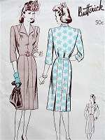 1940s Vintage CLASSIC Dress with Eight-Gored Skirt Butterick 2648 Sewing Pattern Bust 34