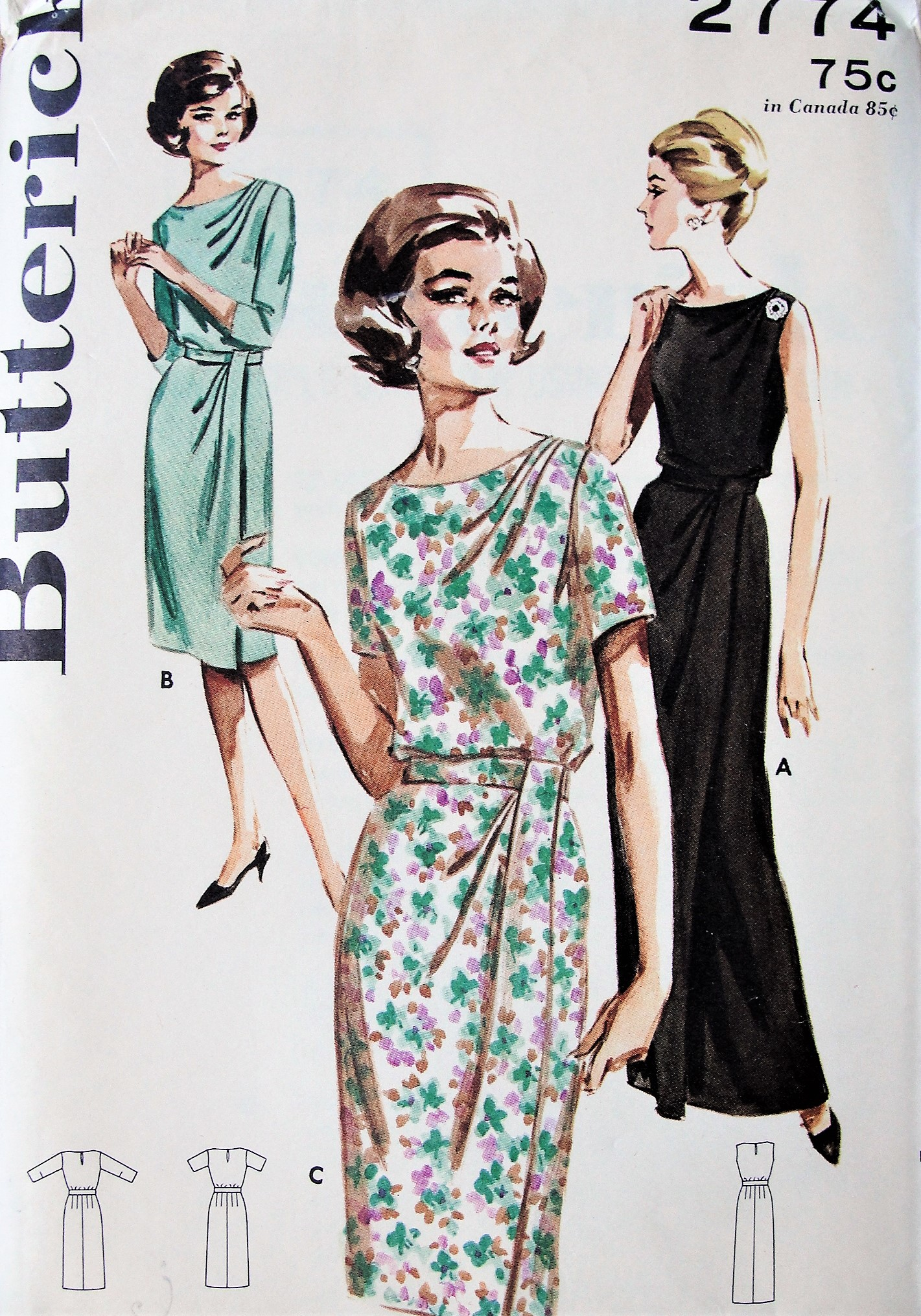 1960s Elegant Cocktail Dress Evening Gown Pattern Butterick 2774 Loveluy Draped Left Shoulder Draped Skirt Stunning Design Bust 34 Vintage Sewing Pattern Factory Folded