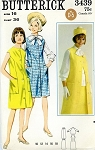 1960s MOD Princess Seam Dress or Jumper or Sleeveless Coat Bow Tie Blouse and Slim Skirt Pattern Butterick 3439 Bust 36 Vintage Sewing Pattern UNCUT