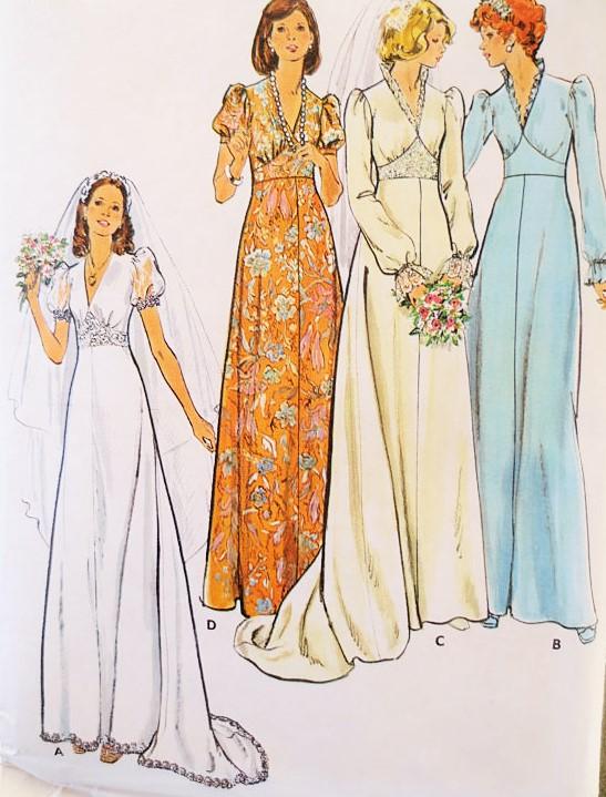 1970s Romantic Bridal Dress Wedding Gown Pattern Butterick 3774 ...