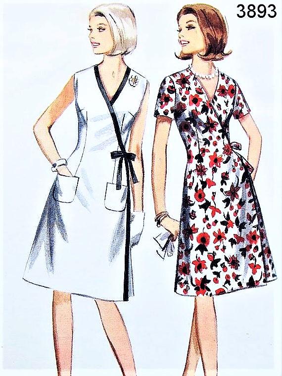 1960s Wrap Dress Pattern BUTTERICK 3893 Cute Side Front ...