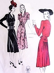 1940s DRAMATIC Dress Pattern BUTTERICK 3995 Daytime or Evening Film Noir Style Drape Interest and Back Fullness Bust 32 Vintage Sewing Pattern