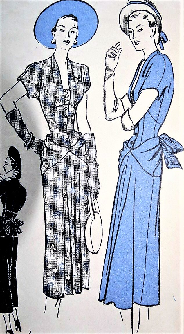1940s GORGEOUS Party Cocktail Evening Dress Pattern BUTTERICK 4502 Film  Noir Bustle Back Dress, Eyecatching Polonaise Drape Curves, Corset Style