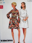 Mod 60s A Line Dress Pattern BUTTERICK 5204 Soft Shirtdress Mandarin Collar or Jewel Neckline Bust 34 Vintage Sewing Pattern FACTORY FOLDED