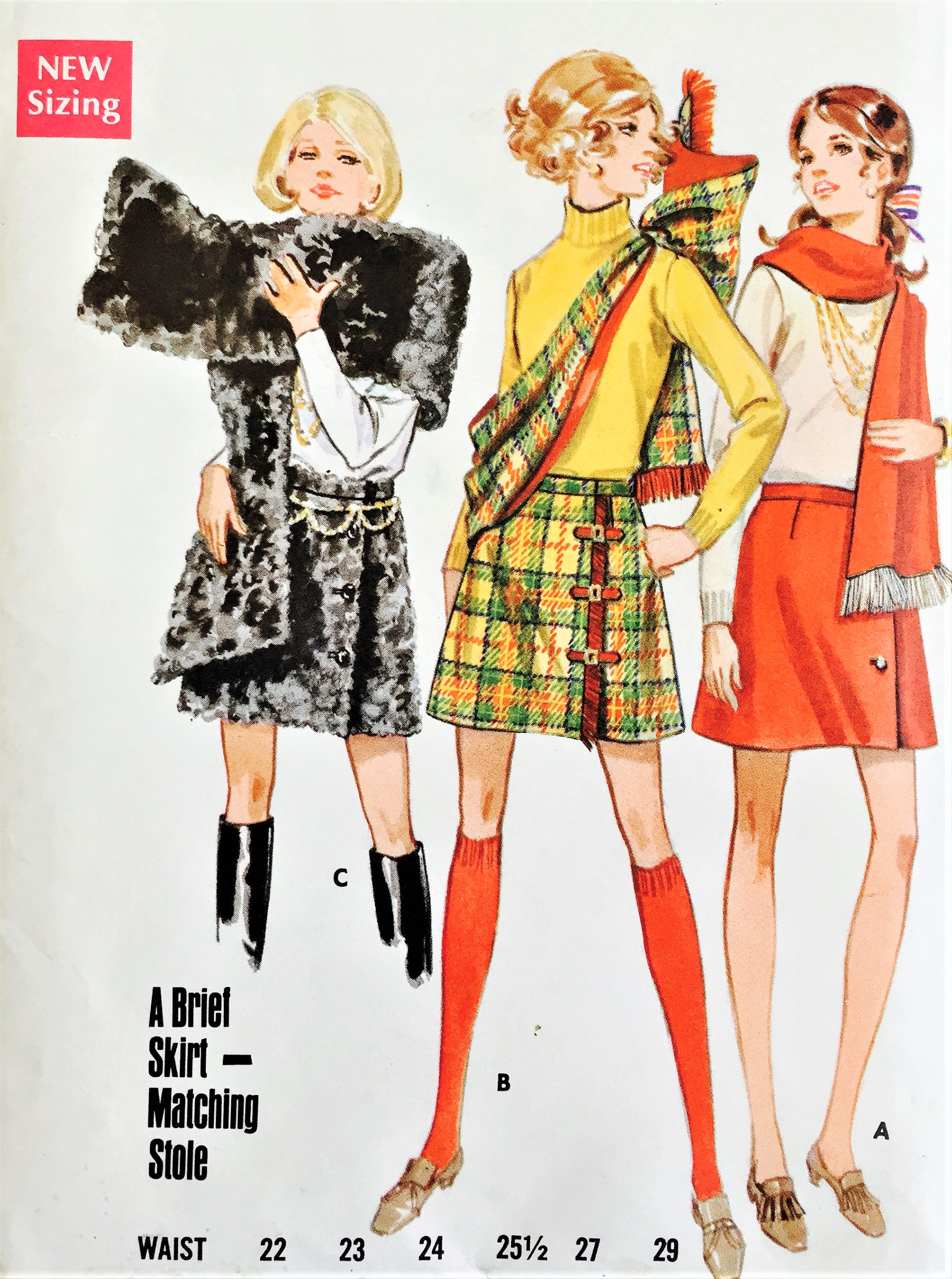 1960s Mod Mini Skirts And Stole Pattern Butterick 5489 Three Cute Styles Side Wrap Kilt Button Closing Waist 27 Vintage Sewing Pattern Factory