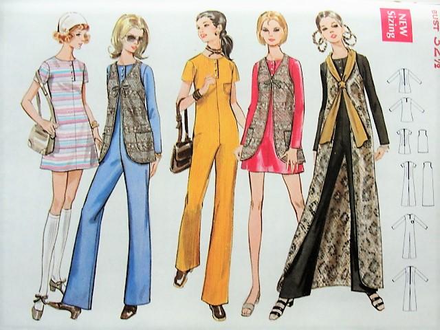 1970s FUNKY Jumpsuit, Dress, Vest Butterick 5706 Bust 32 1/2 Retro ...