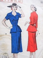 1950s Vintage ELEGANT Two-Piece Dress with Portrait-Neckline and Peplum with Slim Five-Gore Skirt Butterick 5976 Sewing Pattern Bust 38