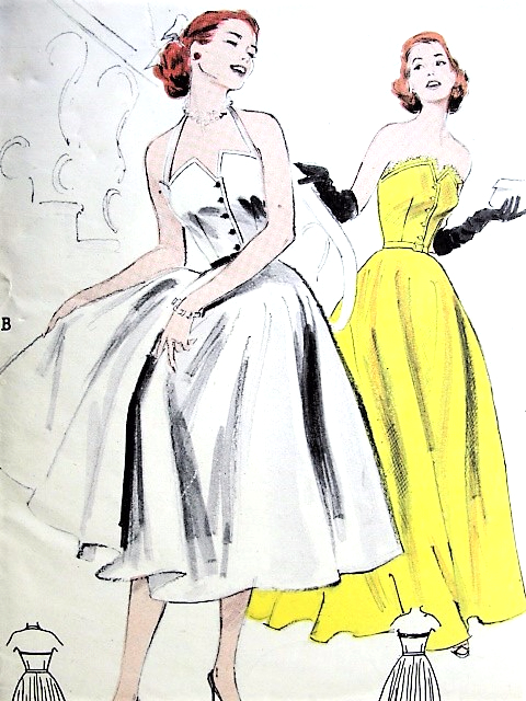 1950s Glamorous Evening Gown Or Short Formal Dress Pattern Butterick