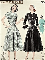 1950s FLATTERING Empire Effect Dress Pattern BUTTERICK 6118 Casual or After 5 Beautiful Quick n Easy Dress Bust 32 Vintage Sewing Pattern