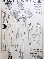 1930s GORGEOUS Art Deco Slim Dress and Jacket  Beginners Pattern BUTTERICK 6240 Thirties Glamour Dress With Sun Back or Closed Bust 32 Vintage Sewing Pattern