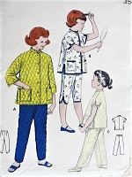 1950s Vintage SWEET Child's Pajama Set in Three Styles Butterick 7058 Childrens Sewing Pattern Chest 28