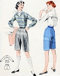 Classic 50s Bermuda Shorts and Sporty Blouse Pattern Butterick 7390 Bloused Back Shirt Just Above Knee Walking Shorts Bust 34 Vintage Sewing Pattern FACTORY FOLDED