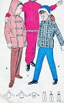 1950s Butterick 8765 Childrens Snowsuit Pattern CUTE Girls and Boys Winter Coats Pants Snowsuit Hooded Zip Up Jacket or Toggles Suspender Snow Pants Size 8 Vintage Sewing Pattern UNCUT