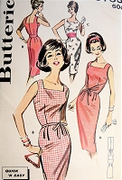 1960s SIZZLING Slim Dress Pattern BUTTERICK 9753 Square Neckline Sheath Day or After 5 Cocktails Dinner Dress  Bust32 Quick n Easy Vintage Sewing Pattern FACTORY FOLDED