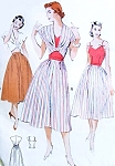 1950s Three Piece Separates Ensemble Pattern Sweet Heart Neck Bare Top Bodice, Dirndl Skirt and Unique Shaped Bolero Daytime To Beach To Evening Butterick 5707 Vintage Sewing Patterns Bust 34