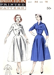 1950s Stylish Dress Pattern Butterick 6710 Wing Collar Tab Detail Bodice Full Skirt  Vintage Sewing Pattern